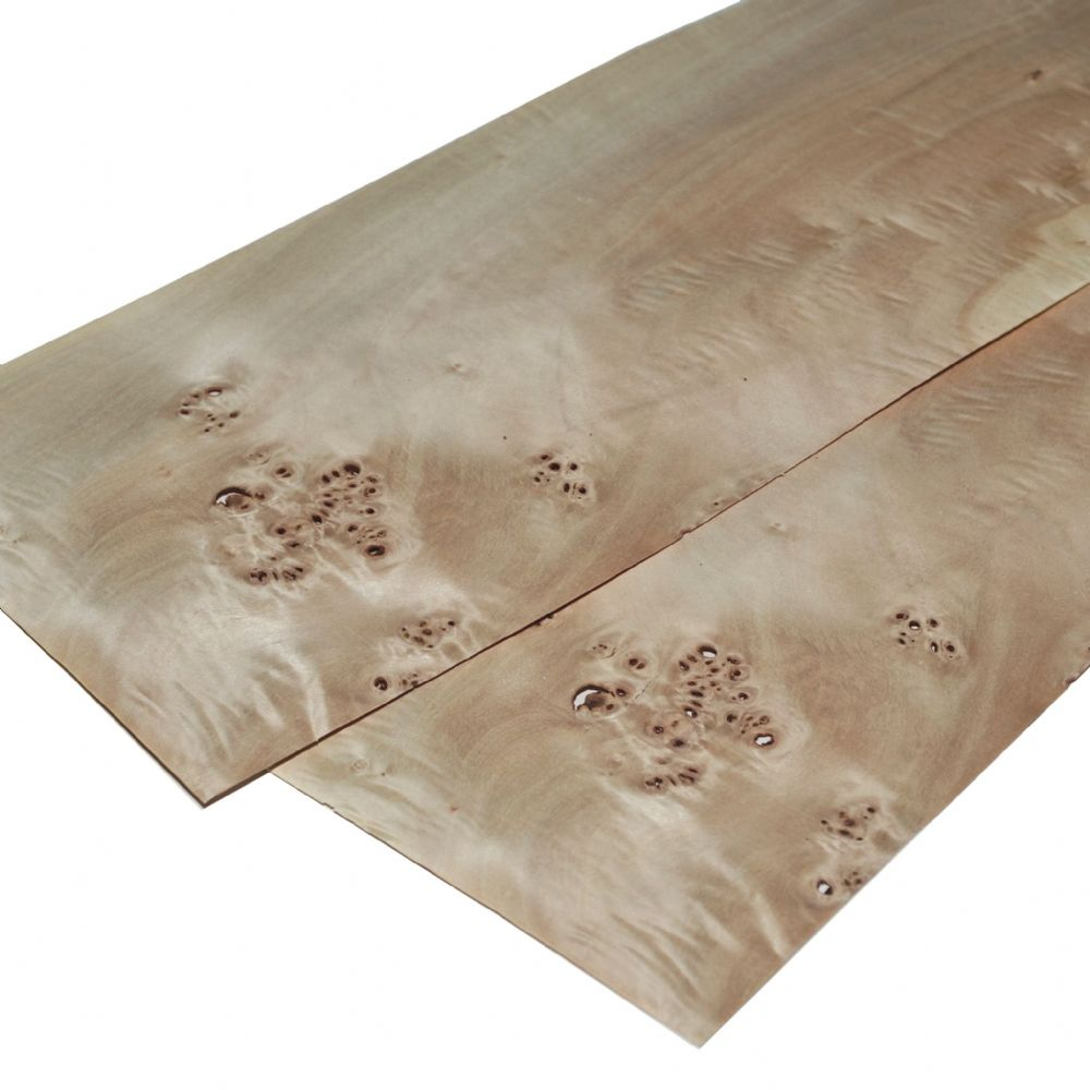 "Poplar burr real wood veneer. Set of 2 sheets 22"" x 6.5"" ( 56 x 16 cm )"